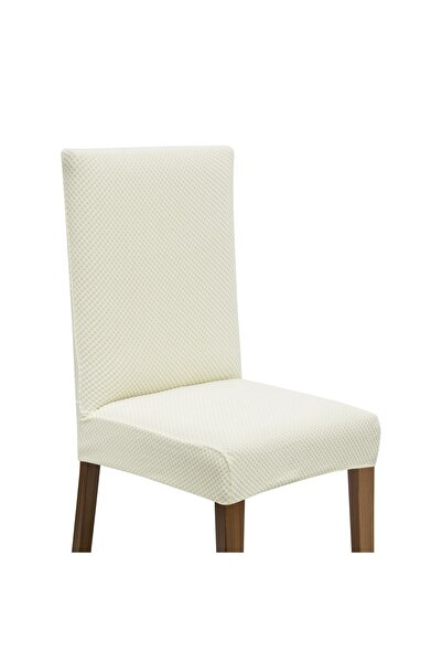 Latuda Concept Latuda Likralı Yıkanabilir Sandalye Kılıfı | Sandalye Örtüsü Ekru 6 Adet