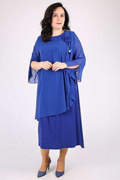 Günay Kadın Lacivert Kısa Abiye Elbise Spl3115
