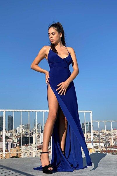 Elbisemhazır Kadın Yırtmaçlı Sırt Dekolteli Kuyruk Detay Royal Abiye Ve Elbise