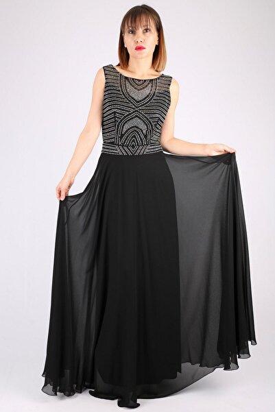 Günay Kadın Siyah Taş İşleme Abiye Elbise Tn7645