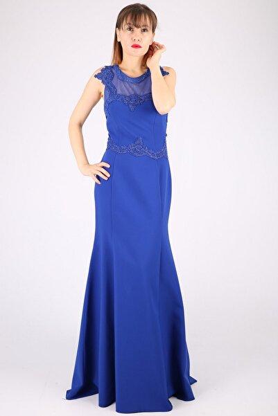 Günay Kadın Lacivert Askılı Abiye Elbise Tn7640