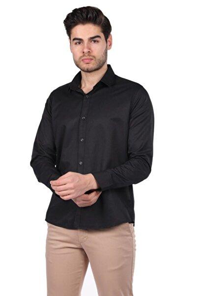 Phazz Brand Erkek Siyah Düz Gömlek
