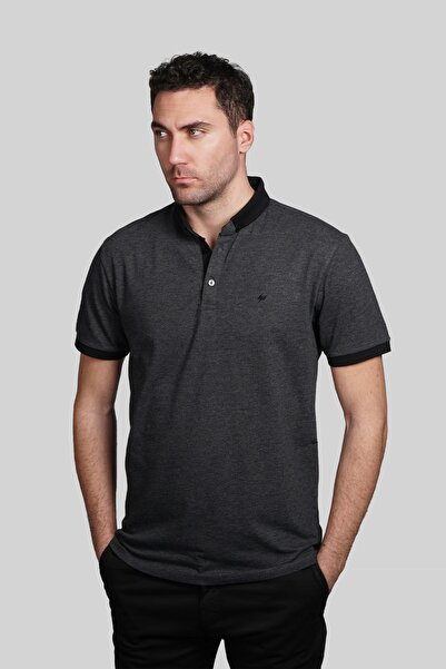 İgs Erkek Antrasit Slim Fit Polo Yaka T-shirt