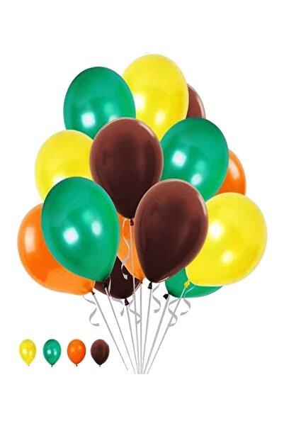 Parti dolabı 50 Adet Safari Orman Temalı Metalik Balon - Sarı-turuncu-kahverengi-yeşil