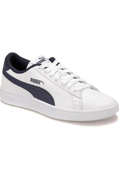 Puma Unisex Beyaz Lacivert Smash V2 L Jr Spor Ayakkabı 365170-02