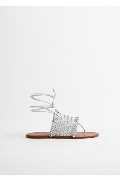 Violeta by MANGO Kadın Beyaz Deri Örgü Sandalet 77040056