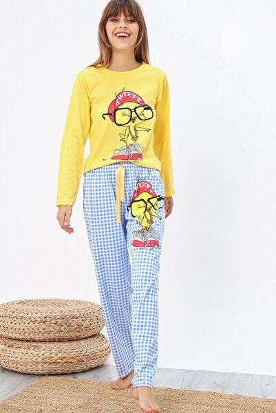 Ecrou Kadın Sarı Baskılı Uzun Kol Pijama Takımı