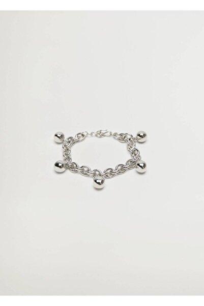 MANGO Woman Kadın Gümüş Boncuklu Bileklik