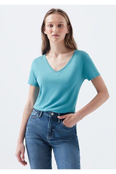 Mavi V Yaka Mavi Basic Tişört