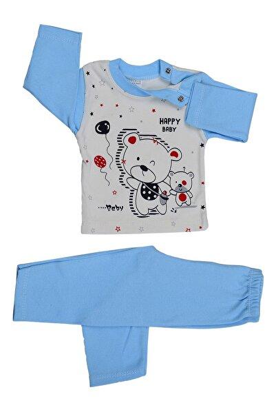 badekids Bebek Mavi Omuzu Çıtçıtlı Aylık Pijama Takım