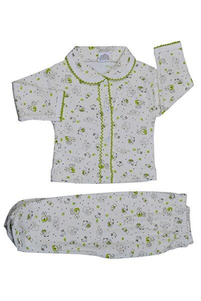 badekids Bebek Yeşil Filli Önü Çıtçıtlı Pijama Takımı