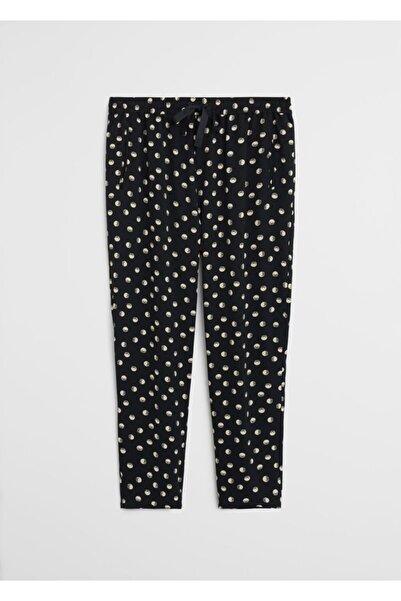 Violeta by MANGO Kadın Siyah Desenli Şalvar Pantolon 67075912