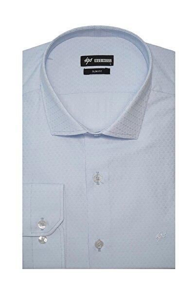İgs Erkek Mavi Slim Fit Klasik Gömlek