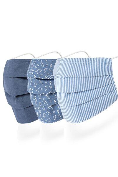 Mutlu Maske Mavi Burun Telli 3 Katlı Renkli Çizgili Pamuklu Kumaş Yıkanabilir Bez Maske 3'lü Set