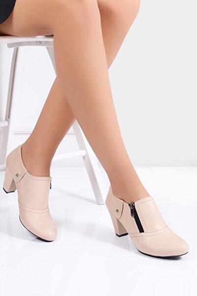 Deripabuc Hakiki Deri Bej Kadın Topuklu Ayakkabı TRC-1069