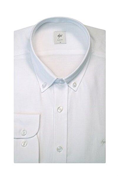 İgs Erkek Beyaz Regular Fit Düğmeli Yaka Gömlek