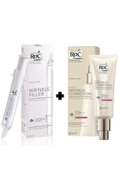 Roc Instant Deep Wrinkle Filler + Retin-ox Wrinkle Gündüz Kırışıklık Giderici 2 Li Krem Seti