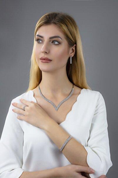 BARIŞ TAKI Kadın 925 Ayar Gümüş 4 Sıra Su Yolu Set