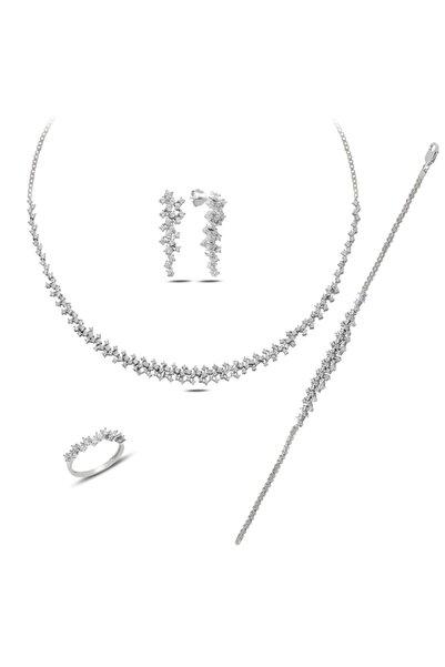 BARIŞ TAKI 925 Ayar Gümüş Pırlanta Montür Su Yolu Bayan Düğün Seti Kolye,bileklik,küpe,yüzük