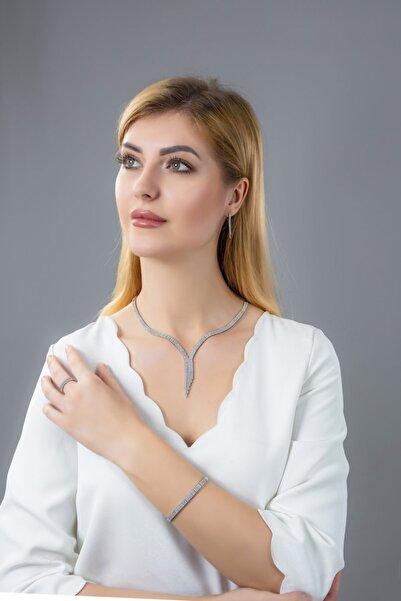 BARIŞ TAKI Kadın 925 Ayar Gümüş Salkım 3 Sıra Su Yolu Düğün Set