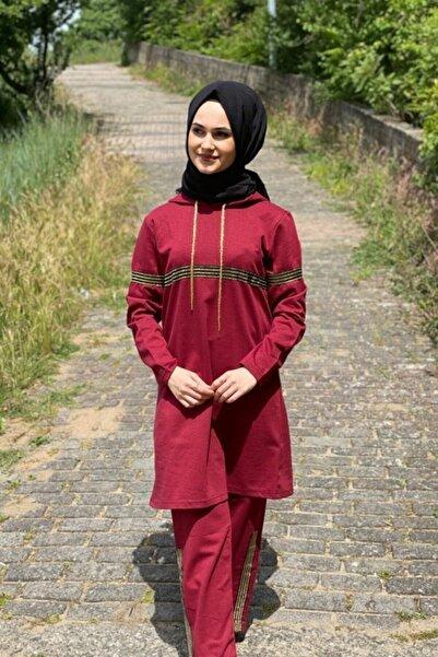 SHOPPİNG GO Kadın Simli Bordo Tesettür Eşofman Takımı