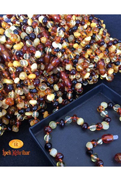 İpek Kehribar Unisex Bebek Kahverengi Diş Barok Kesim Multicolor 4 Renk Baltık Kehribar Kolye