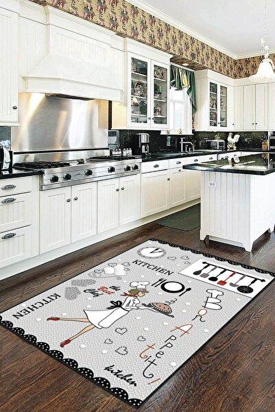RugViva Kaymaz Tabanlı Halı Mutfak MT02 Gri