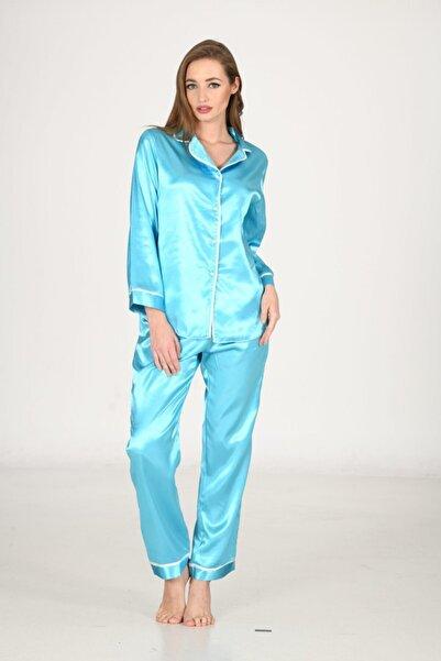 Limon Kadın Turkuaz Saten Pijama Takımı