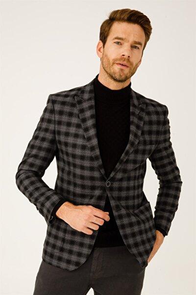 İgs Erkek Gri Slım Fıt Dar Kalıp 9cm Kırlangıç Ceket