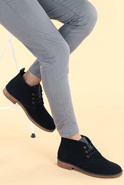 Ayakland Erkek Siyah Süet Bağcıklı Bot Ayakkabı