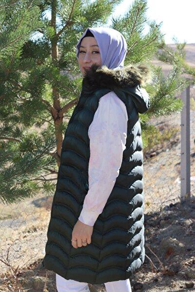 Loreen Kadın Yeşil Tasarım Çıkarılabilen Şapkalı Kaz Tüyü Şişme Yelek