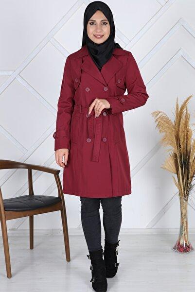 Moda Çizgi Kadın Kırmızı Bondit Trençkot Mdc1035