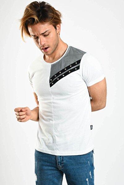 Karpefingo Erkek Beyaz Taşlı Fileli  T-Shirt - 46747