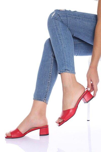 Modagon Kadın Kırmızı Sofia Cilt Topuklu Ayakkabı