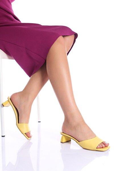 Modagon Kadın Sofia Sarı Cilt Topuklu Ayakkabı