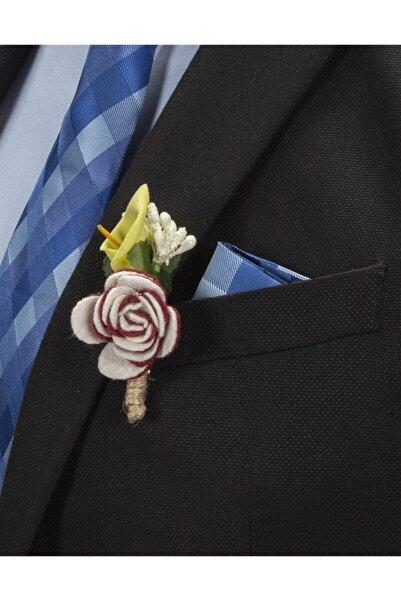 Tudors Erkek Kahverengi Tüy Detaylı Beyaz Yaka Çiçeği