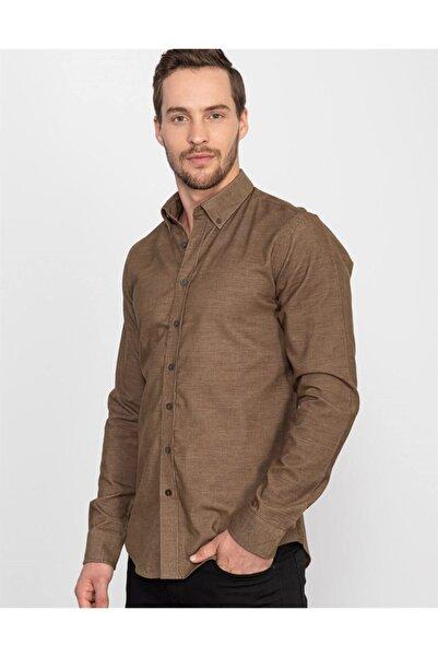 Tudors Erkek Kahverengi Slim FitKışlık Kadife Gömlek