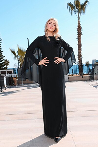 Moodbasic Kadın Siyah Şifon Pelerinli Abiye Elbise