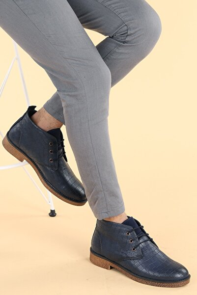 Ayakland Erkek Lacivert Bağcıklı Bot Ayakkabı 5000