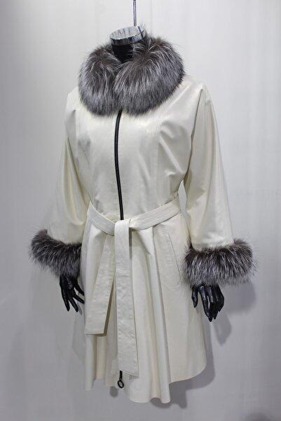 Metins Leather Kadın Beyaz Pelerinli Deri Kaban