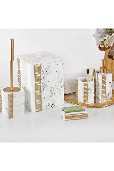 Elit Versace Polyester Banyo Set Beyaz