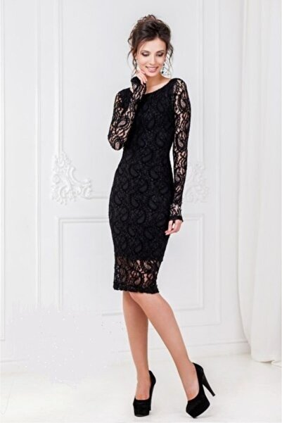 DST FASHİON Kadın  Siyah Dantel Elbise