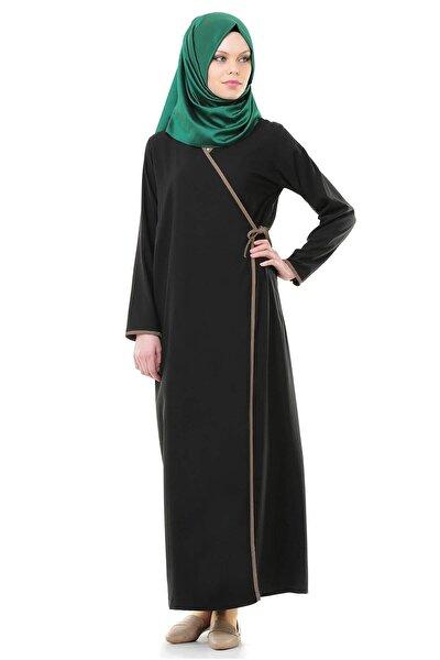 Esil Tesettür Kadın Siyah Yandan Bağlamalı Namaz Elbisesi