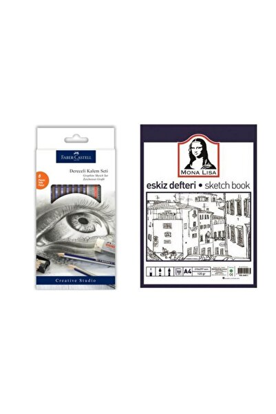 Faber Castell 8 Parça Dereceli Kalem Seti + Mona Lisa Sketch Book - Eskiz Defteri A4 50 Yp. 120 Gr.