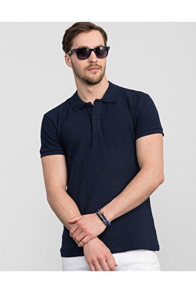 Tudors Slim Fit Kendinden Desenli Lacivert Pike T-shirt