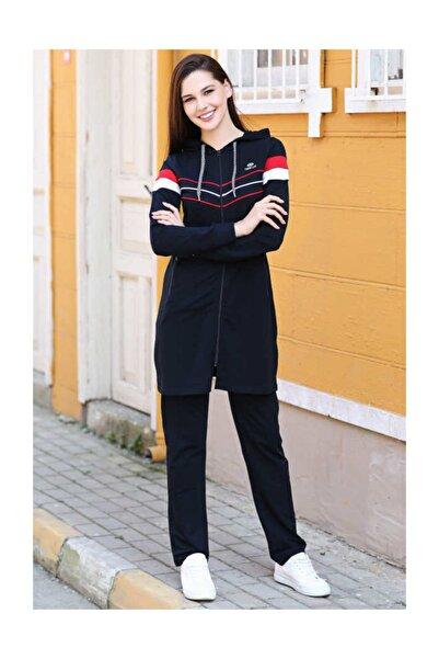 Tommy Life Kadın Lacivert Kapüşonlu Ön Şerit Detaylı  Tunik Takım