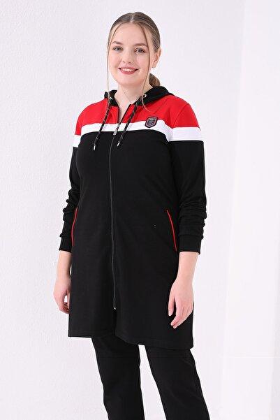 Tommy Life Kadın Siyah Kırmızı Ön Garnili Büyük Beden Tunik Takım
