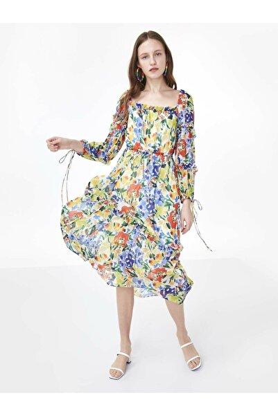 Twist Kadın Beyaz Fırfır Şeritli Çiçek Desen Elbise TS1200002490096