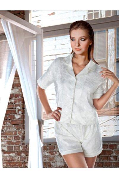 Miorre Kadın Ekru Şortlu Dantel Pijama Takımı