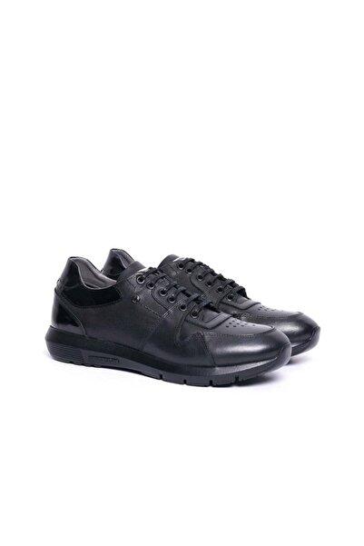 Cacharel Erkek  Siyah Deri Sneaker Ayakkabı